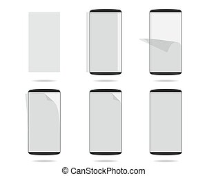 Black smartphones display with protector glass set different stages