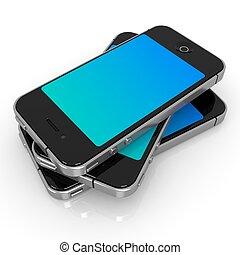 Black Smartphones on White Background, 3D Render.