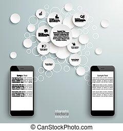 Black Smartphones With Speech Bubble Circles