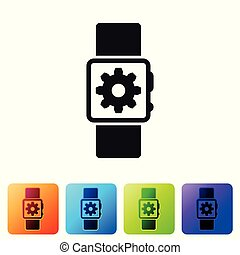 Black Smartwatch setting icon isolated on white background. Smart watch settings. Set icon in color square buttons. Vector Illustration