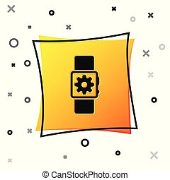 Black Smartwatch setting icon isolated on white background. Smart watch settings. Yellow square button. Vector Illustration