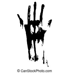 Black smeared handprint