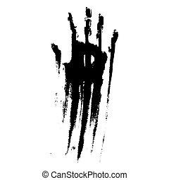 Black smeared handprint on  white background