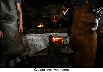 Ironsmith hitting hotsteel - Black smith, Ironsmith hitting...