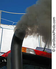 black smog from industrial pipe, environment pollution details