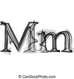 Blue Flame Magic Font Over Black Background Letter M