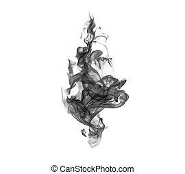 Black smoke isolated on white background