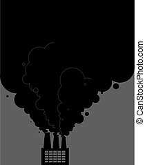 Black smoke pipes of factory. Ecological catastrophy. Industrial landscape. Plant poisonous emissions. Environmental pollution. Vector illustration
