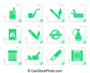Black Smoking and cigarette icons