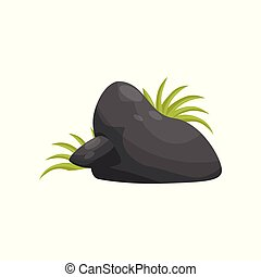 Black smooth stone with grass, element of tropical jungle landscape vector Illustration on a white background