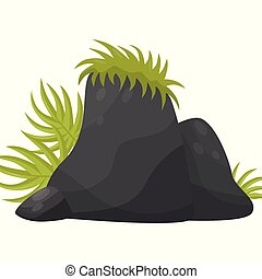 Black smooth stones with tropical plants, element of tropical jungle landscape vector Illustration on a white background