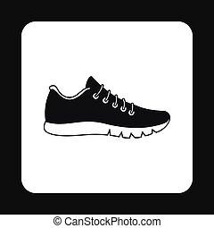 Black sneaker icon, simple style