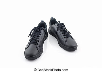 Black sneakers. Canvas Shoe.