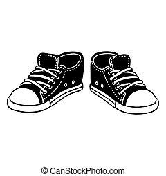 Black sneakers drawing - Black canvas sneakers cartoon...