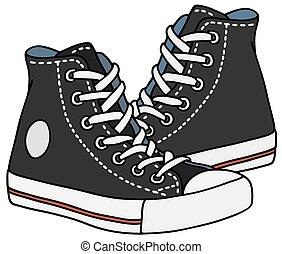 Black sneakers - Hand drawing of classic black sneakers