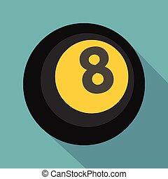 Black snooker eight pool icon, flat style