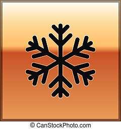 Black Snowflake icon isolated on gold background. Vector Illustration