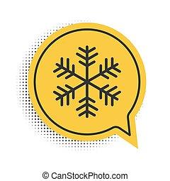 Black Snowflake icon isolated on white background. Yellow speech bubble symbol. Vector