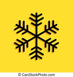 Black Snowflake icon isolated on yellow background. Long shadow style. Vector