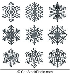 Black Snowflake Shapes Collection