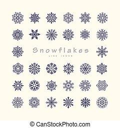 Black snowflakes line icon on beige background