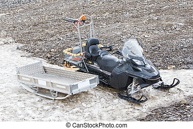 Black snowmobile