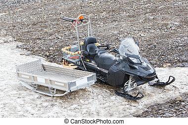 Black snowmobile