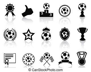 black soccer award icons set