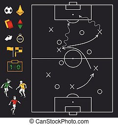 Soccer football field with icon set
