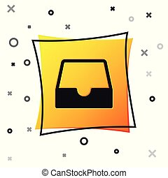 Black Social media inbox icon isolated on white background. Social network element, symbol. Yellow square button. Vector Illustration