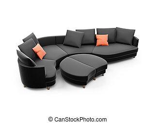 Black sofa against white