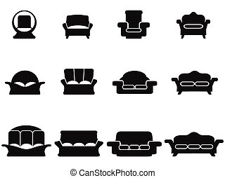 black , sofa, iconen, set