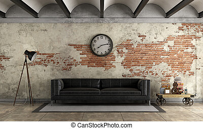 Black sofa in a grunge room