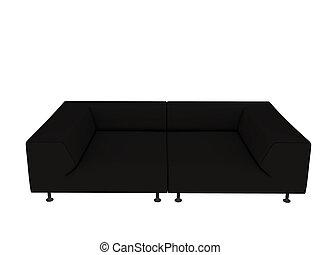 black sofa isolated on white background