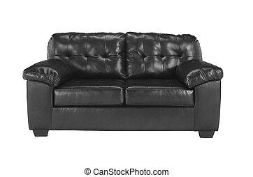 Black sofa on white background