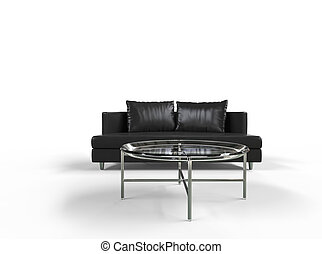 Black Sofa with Coffee Table