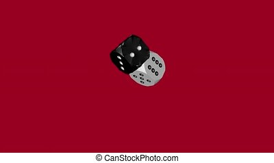 Black Soft and White Solid Dice Collided, 3D Animation on...