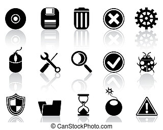 black software icons set