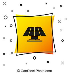 Black Solar energy panel icon isolated on white background. Yellow square button. Vector