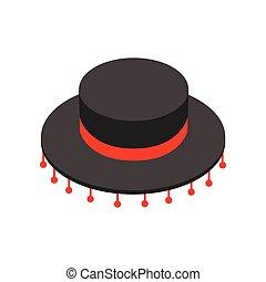Black sombrero hat icon, isometric 3d style