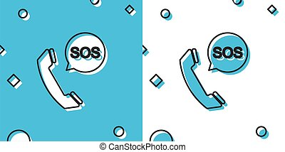Black SOS call icon isolated on blue and white background. 911, emergency, help, warning, alarm. Random dynamic shapes. Vector Illustration