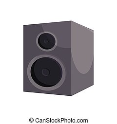 Black sound speaker icon, cartoon style