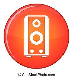 Black sound speaker icon, flat style