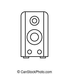 Black sound speaker icon, outline style