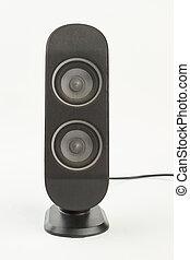 Black sound speaker on white background.