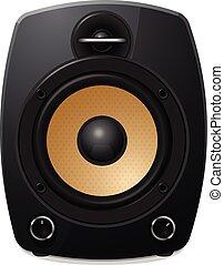 Black sound speaker on white background