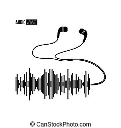 Black sound wave with headphones on white bacground. Vector t-shirt or poster design.