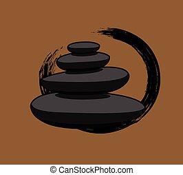 Black Spa Zen Stones Vector Illustration