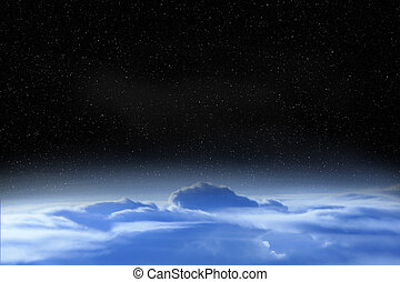 Beautiful space landscape with open cosmos and clouds