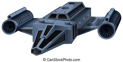Black spaceship flying on white illustration